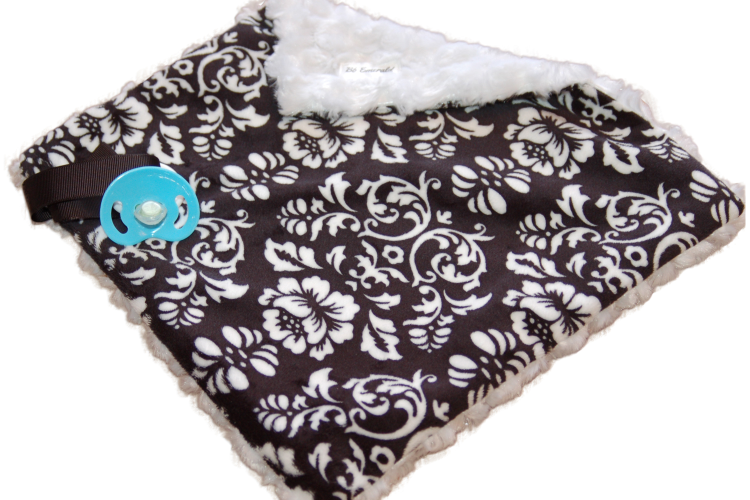 Black Damask Minky Pacifier Blanket