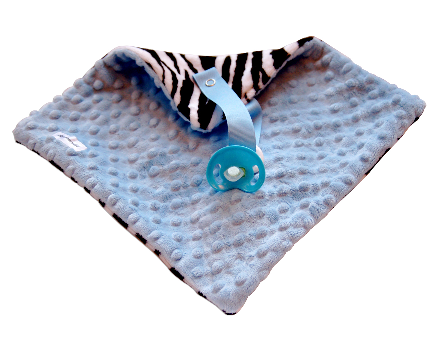 Blue Zebra Minky Pacifier Blanket