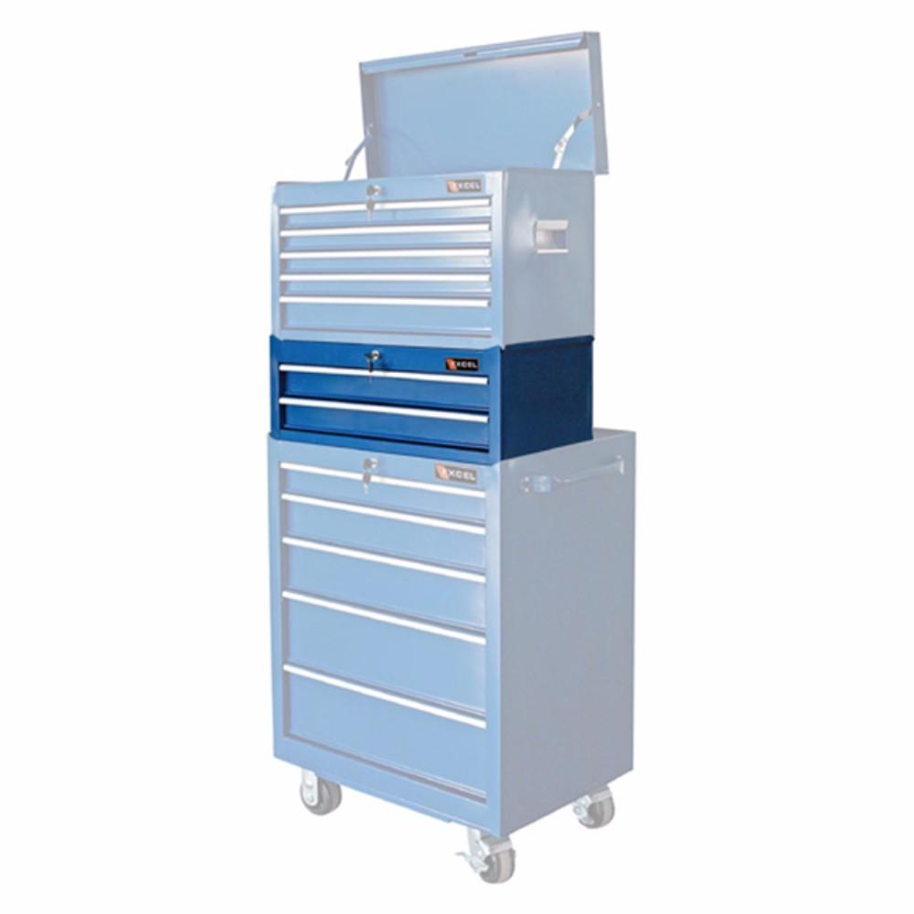 excelhardware 2 drawer metal storage tool box chest middle part blue ebay. Black Bedroom Furniture Sets. Home Design Ideas