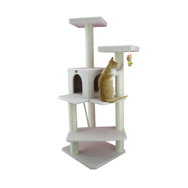 57 Wooden Step Cat Tower Tree Condo Scratcher Furniture Play Kitten House Ivory Ebay
