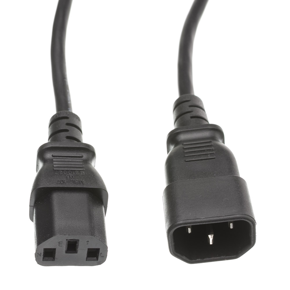 Offex Computer / Monitor Power Extension Cord, Black, C13 to C14, 10 Amp, 1 foot