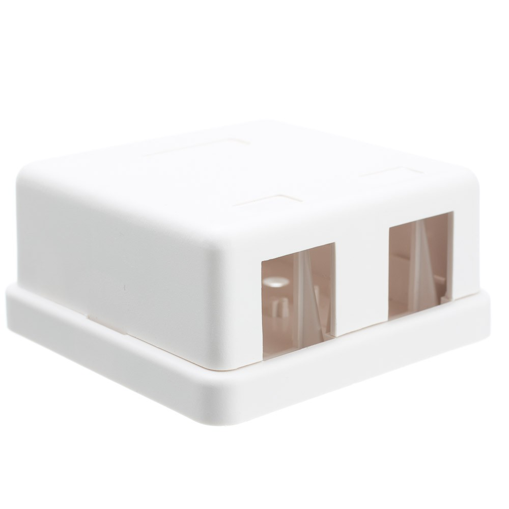 Offex Blank Surface Mount Box for Keystones, 2 Hole, White