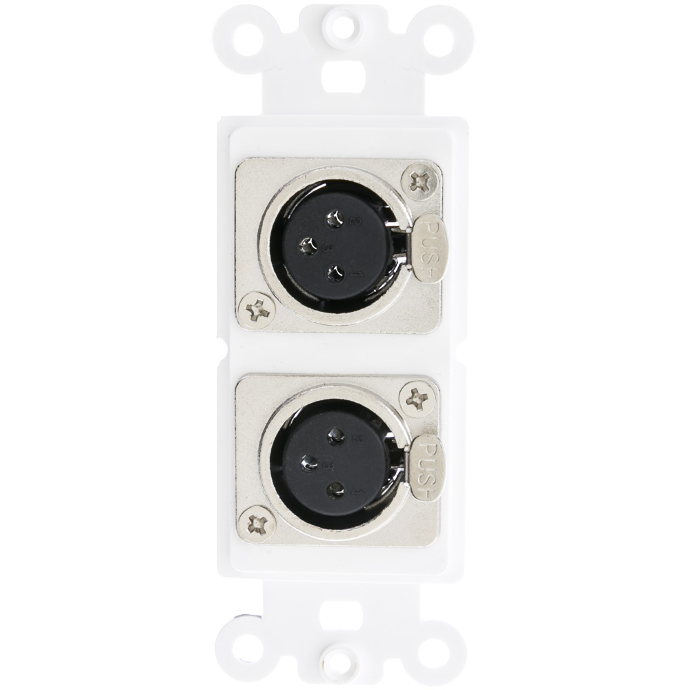 Offex Decora Wall Plate Insert, White, Dual XLR Female to Solder Type