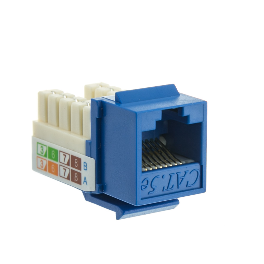 Offex Cat 5e Keystone Jack, Blue, RJ45 Female to 110 Punch Down