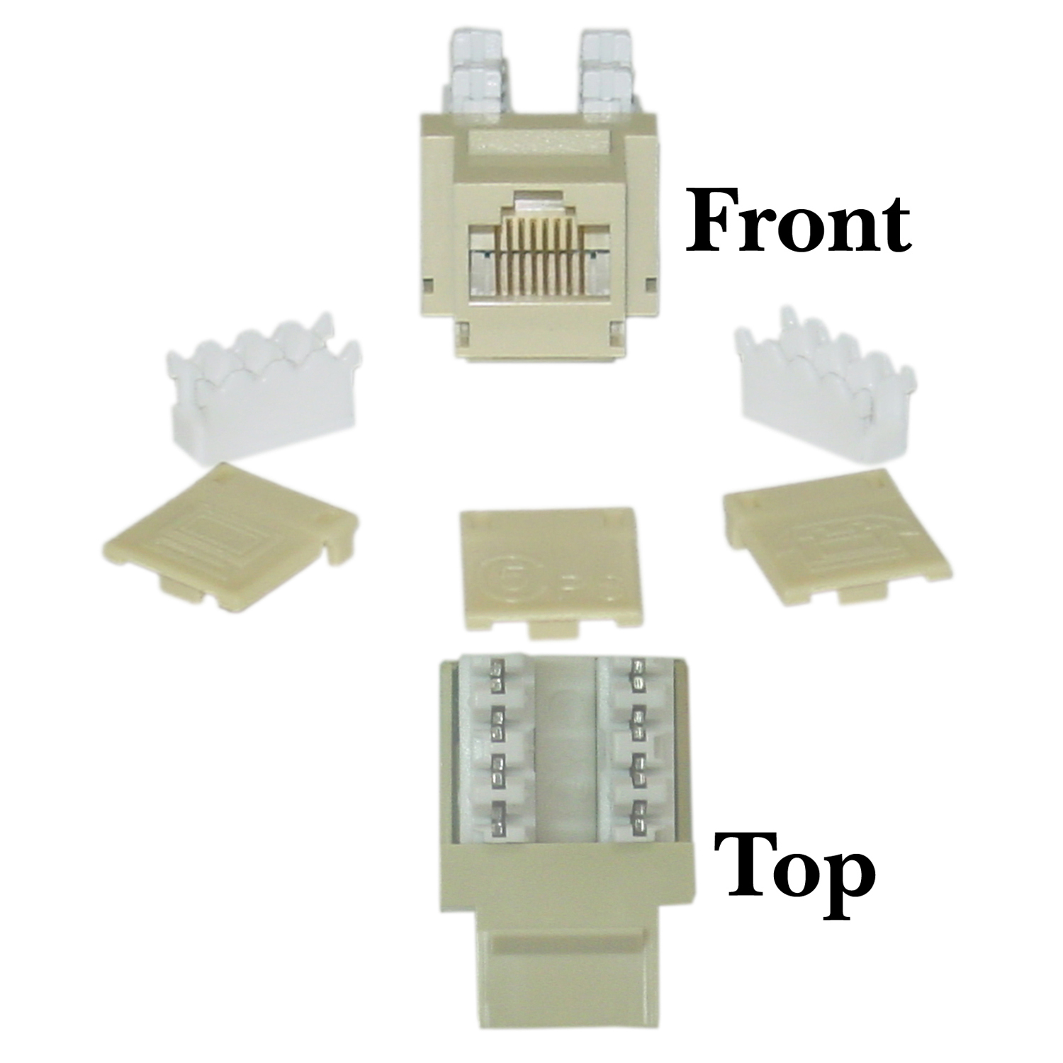Offex Cat 5e Keystone Jack, Beige / Ivory, RJ45 Female to 110 Punch Down