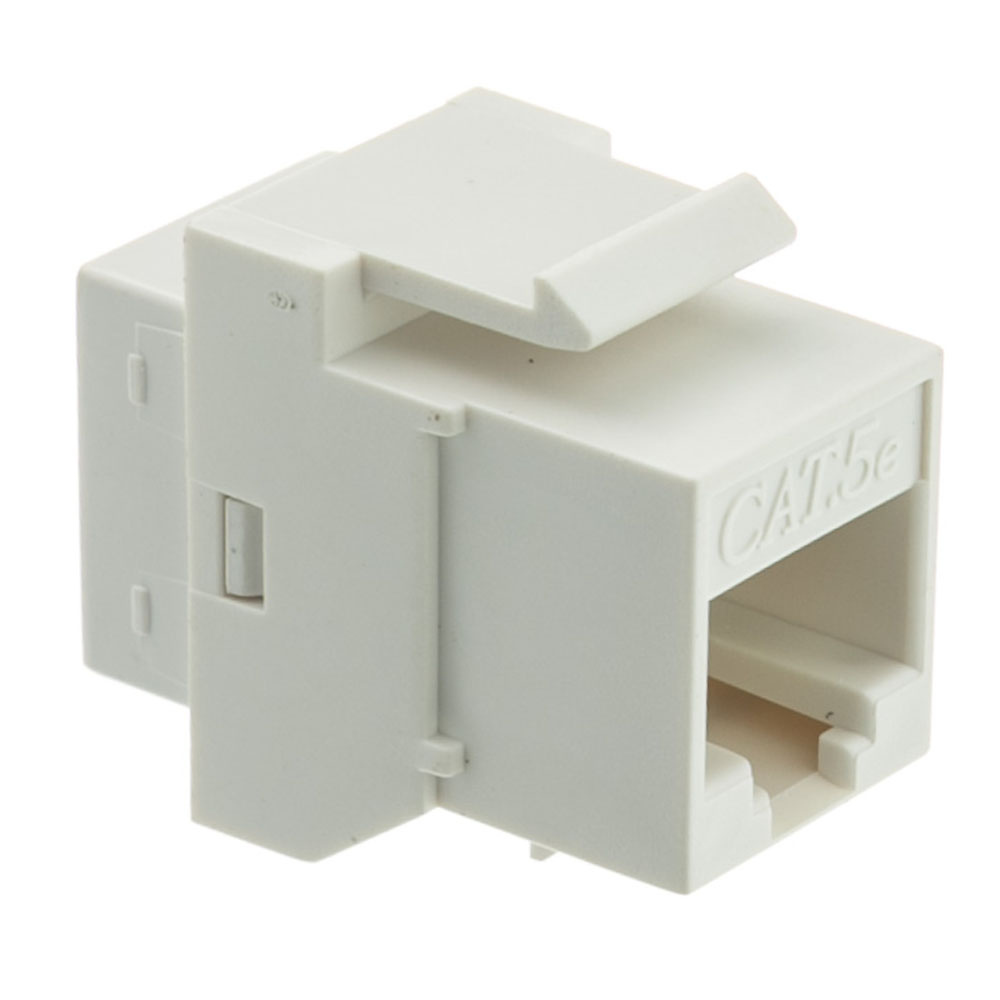 Offex Cat 5e Keystone Inline Coupler, White, RJ45 Female