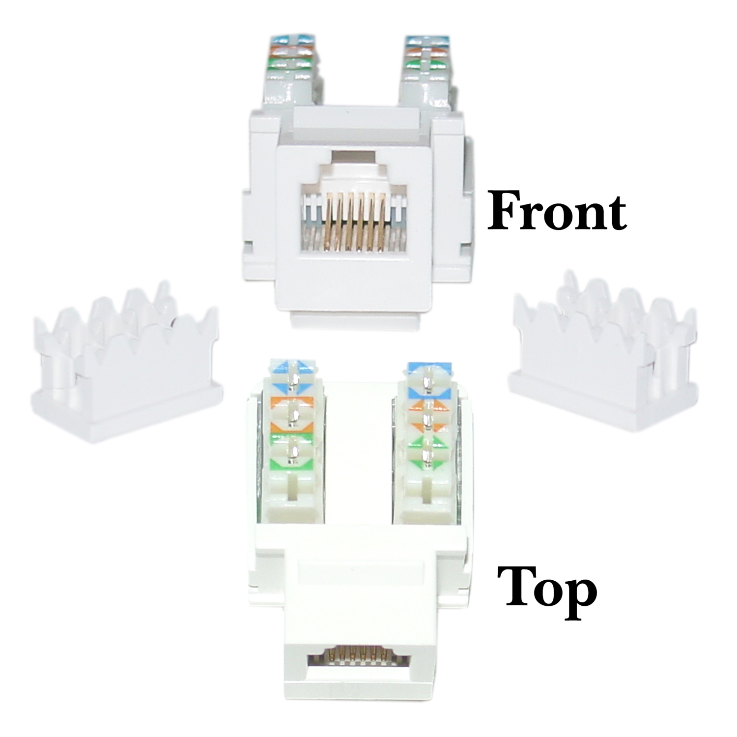 Offex Keystone Insert, White, Phone / Data Jack, RJ11 / RJ12 Female to 110 Type Punch Down