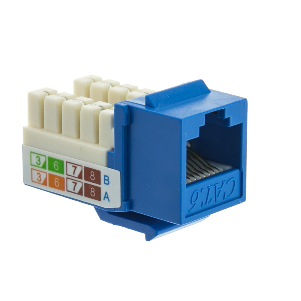 Offex Cat 6 Keystone Jack, Blue, RJ45 Female to 110 Punch Down