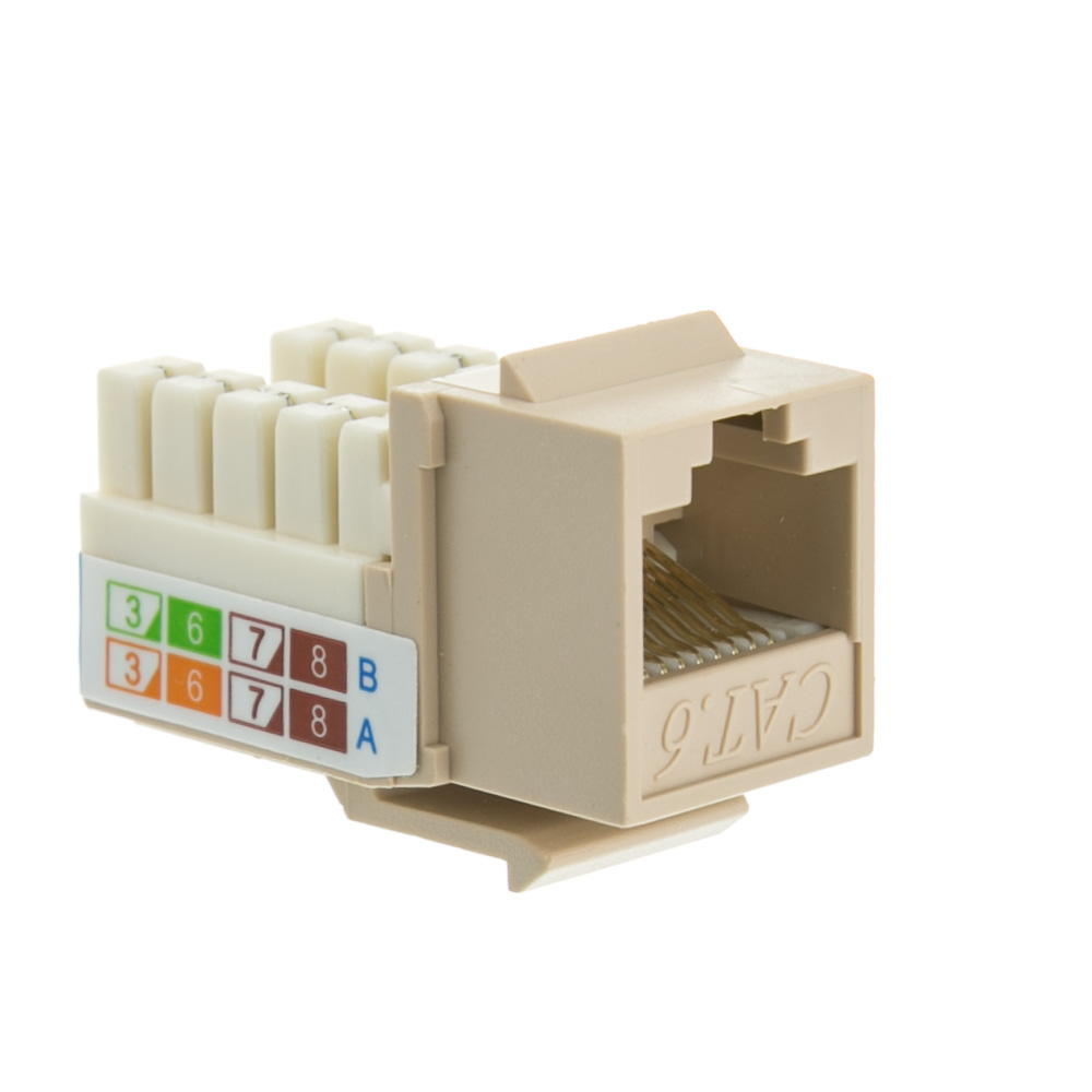 Offex Cat 6 Keystone Jack, Beige / Ivory, RJ45 Female to 110 Punch Down