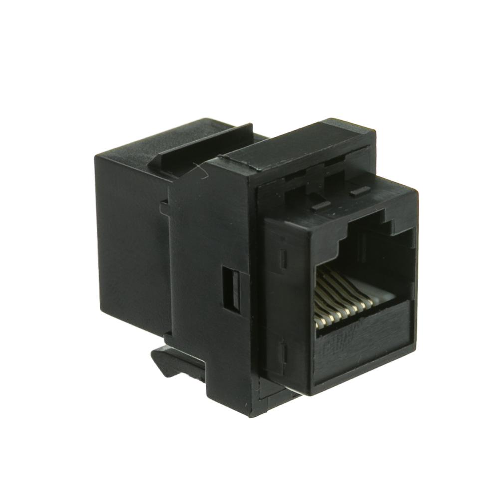 Offex Cat6 Keystone Inline Coupler, Black, RJ45 Female