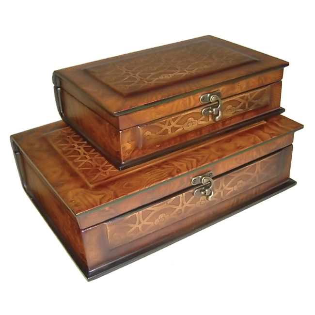 Cheungs Set Of 2 Decorative Wooden Book Shape Storage Box Container Lined at Sears.com