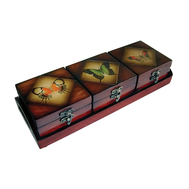 Cheungs Decorative Wooden Storage Box Container Chest Set With Tray Butterfly Design at Sears.com