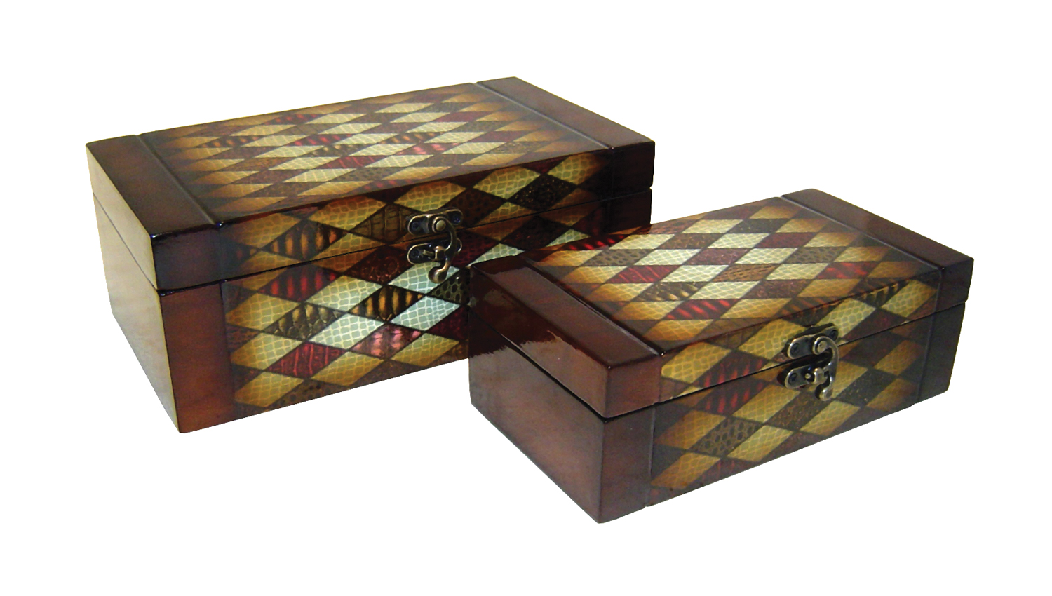 Cheungs Decorative Diamond Pattern Wooden Set of 2 Rectangular Keepsake Treasure Storage Box With Brass Latch at Sears.com