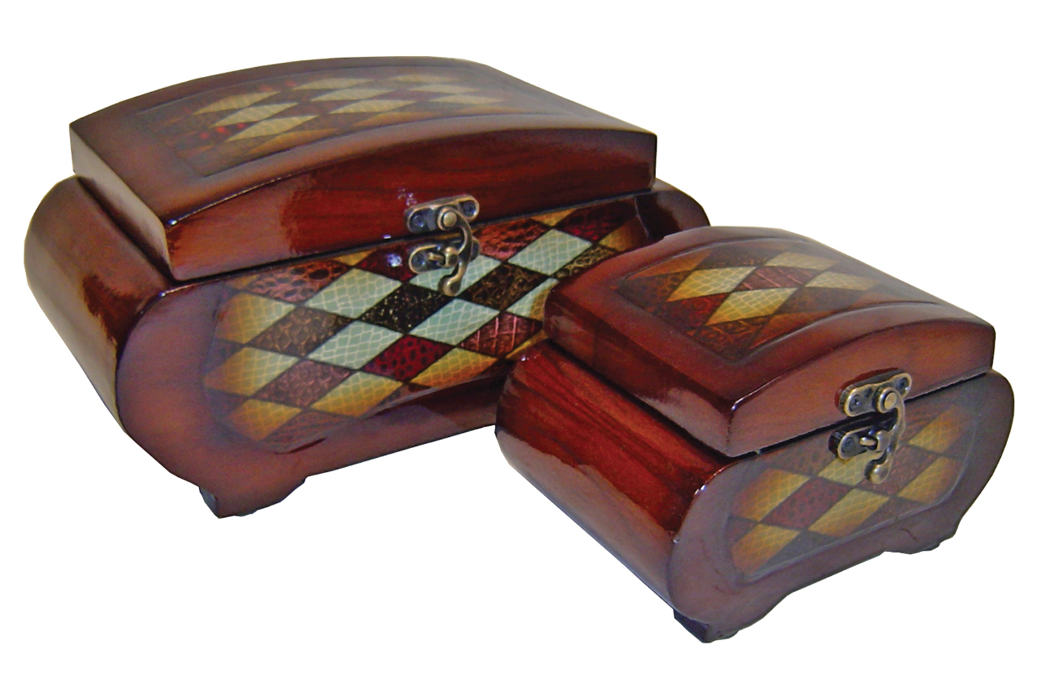 Cheungs Decorative Diamond Pattern Wooden Set of 2 Keepsake Treasure Trinket Storage Box With Brass Latch at Sears.com