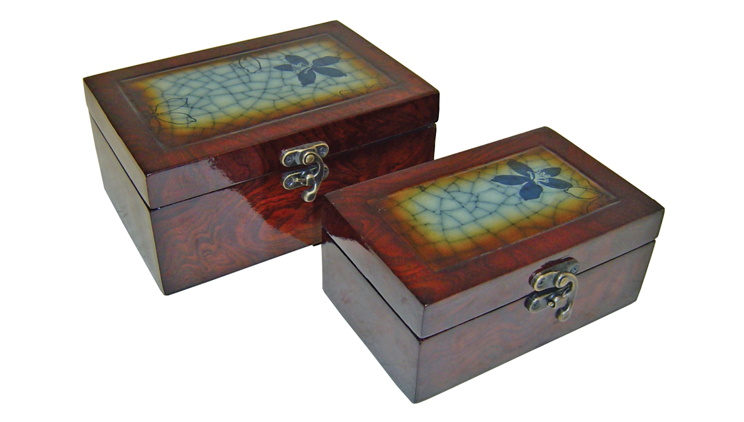 Cheungs Decorative Nesitng Crackling Blue Lined  Wooden Set of 2 Rectangular Keepsake Treasure Storage  Box With Brass Latch at Sears.com