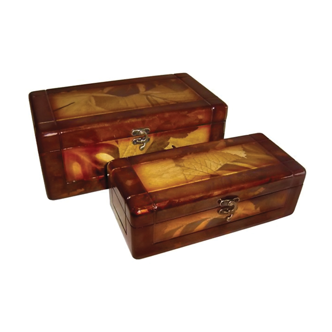 Cheungs Decorative Nesitng leaves lined Wooden set of 2 rectangularangle Keepsake Treasure Storage box With Brass Latch at Sears.com