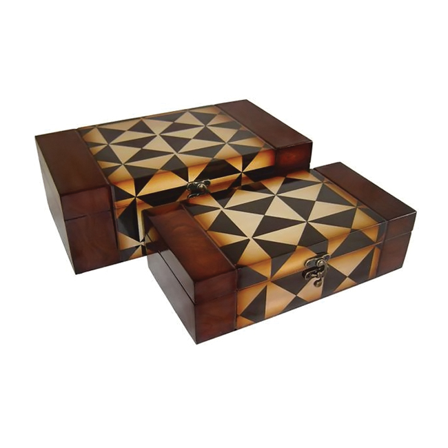 Cheungs Decorative Nested Wooden Set of 2 rectangular Keepsake Treasure Storage box With Brass Latch at Sears.com