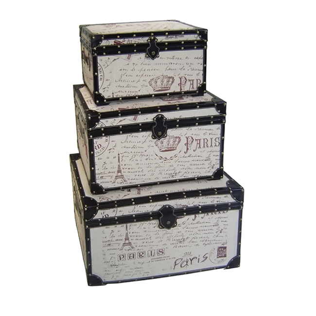 Cheungs Decorative Nested Wooden Set of 3 Paris Themed Postcard Letters Keepsake Treasure Storage Trunk Box at Sears.com