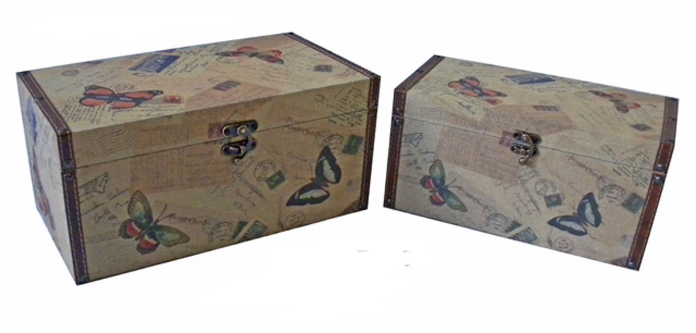 Cheungs Home Floor Decorative Jewelry Clothes Storage Bedroom Trunk Box Set Of 2 Butterfly at Sears.com