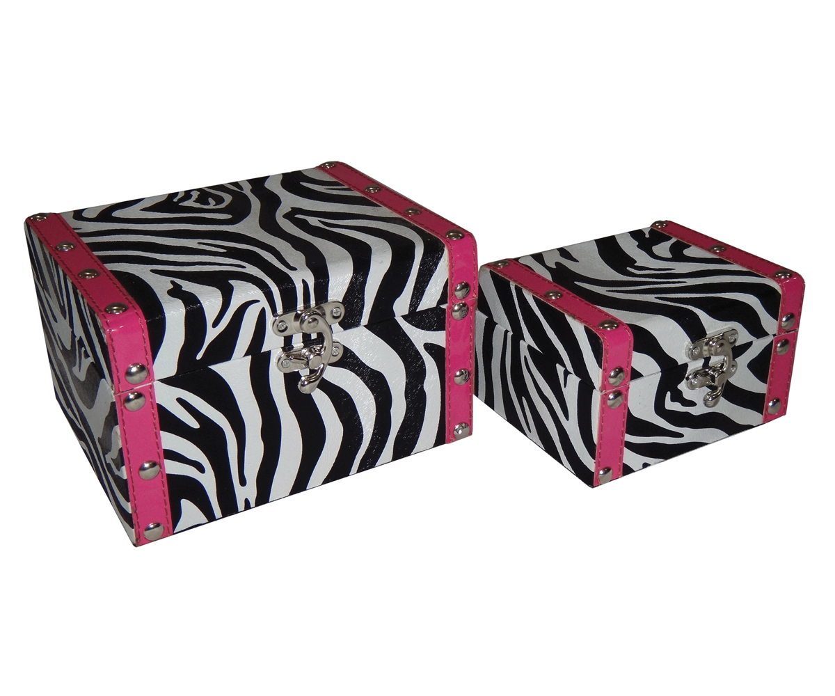 Cheungs Home Decorative Jewelry Clothes Multipurpose Wooden Storage Set of 2 Zebra With Pink Border Box at Sears.com