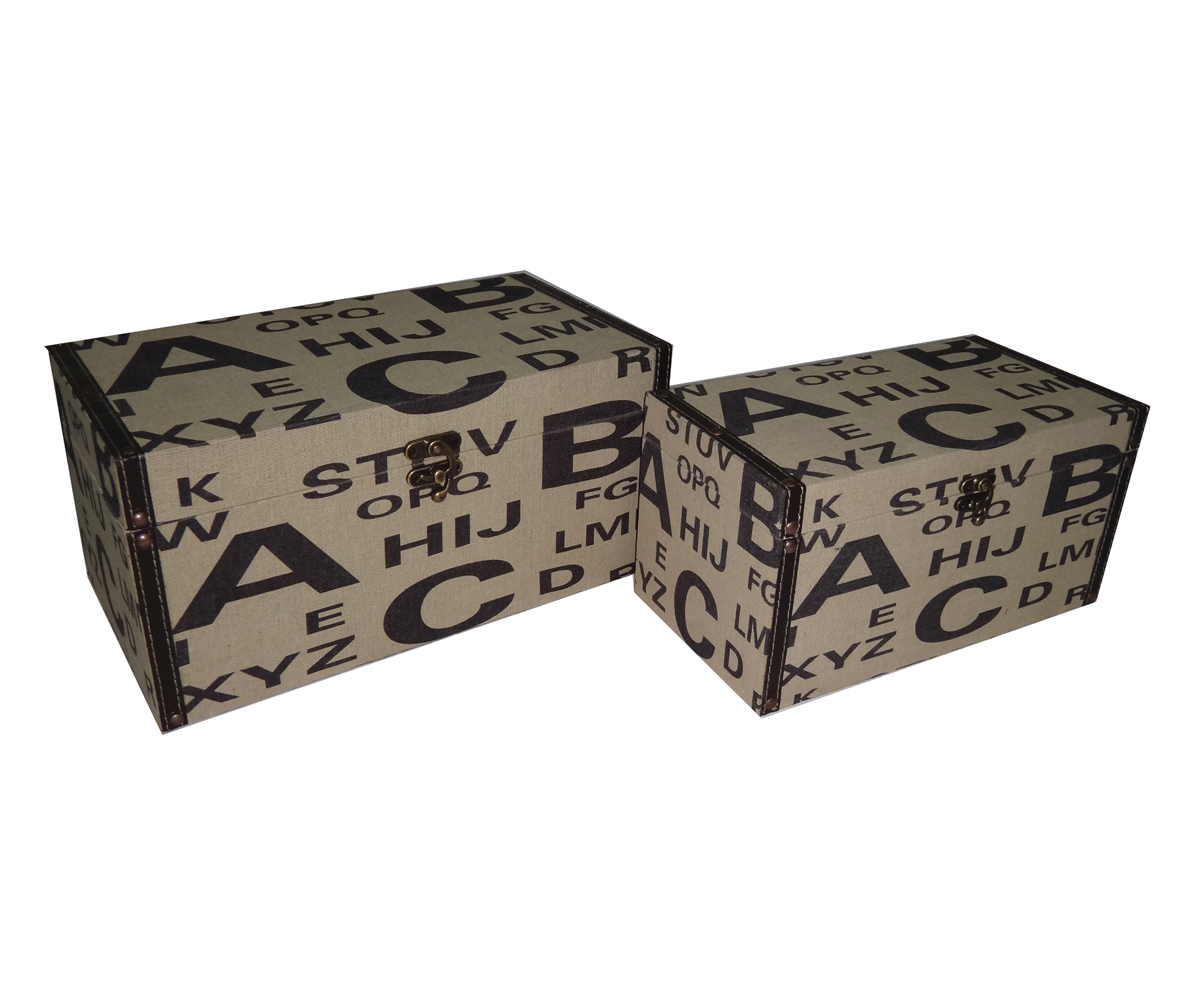 Cheungs Home Decorative Jewelry Clothes Multipurpose Wooden Storage Set of 2 Alphabet Design Keepsake box at Sears.com
