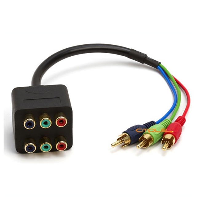 Offex 3-RCA Component Video 1 Male to 2 Female RGB Splitter