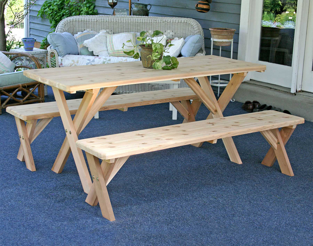 """Creekvine Red Cedar 27"""" Wide 6' Backyard Bash Cross Legged Picnic Table with Detached Benches"""