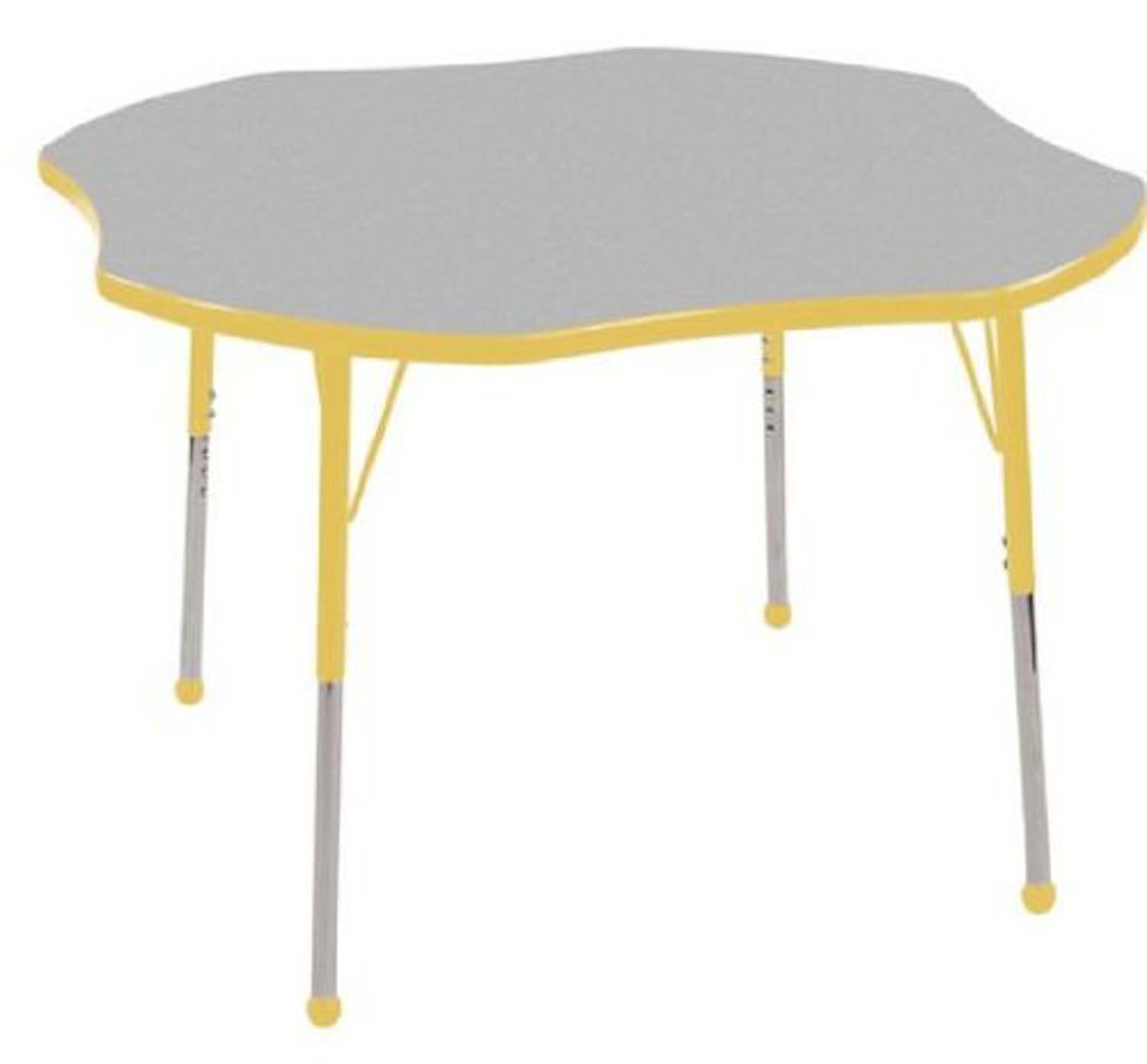 """Ecr4Kids Play School Classroom 48"""" Clover Height Adjustable Kids Activity Table Gray With Standard Ball Glide Legs Yellow at Sears.com"""