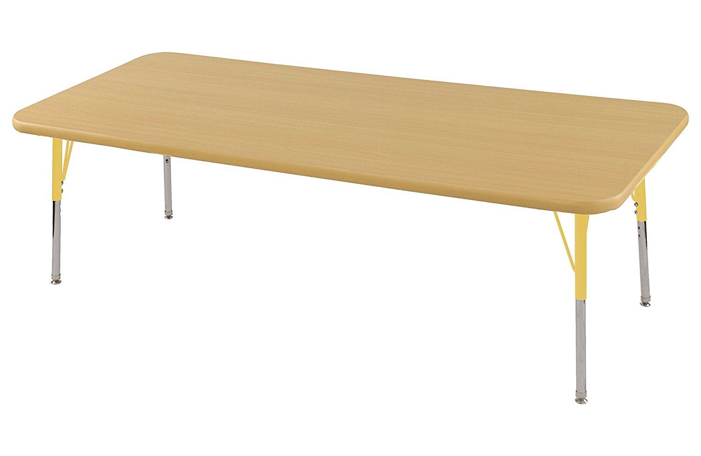 "Ecr4Kids Play School Classroom 24""x72"" Rectangular Height Adjustable Kids Activity Table Maple With Standard Legs Yellow"