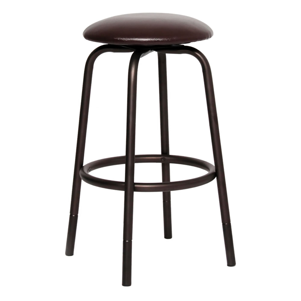 Flash Furniture Home Office Kitchen Backless Metal Dual Adjustable Height Counter Or Bar Stool With Brown Leather Seat