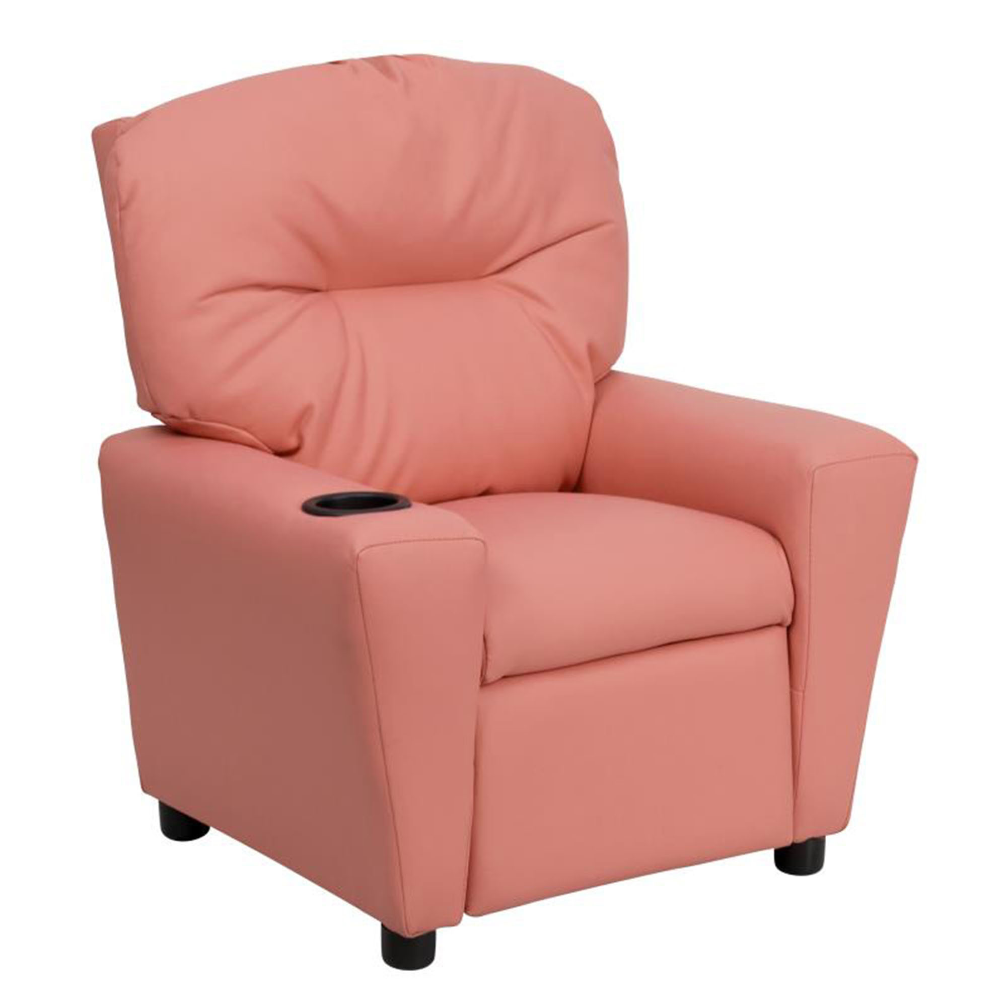 Offex Contemporary Pink Vinyl Kids Recliner with Cup Holder [BT-7950-KID-PINK-GG]