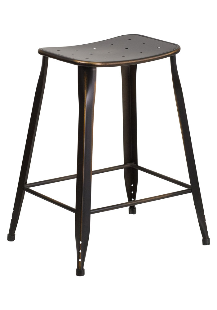 24 high distressed metal indoor outdoor counter height stool - Aluminum counter height stools ...