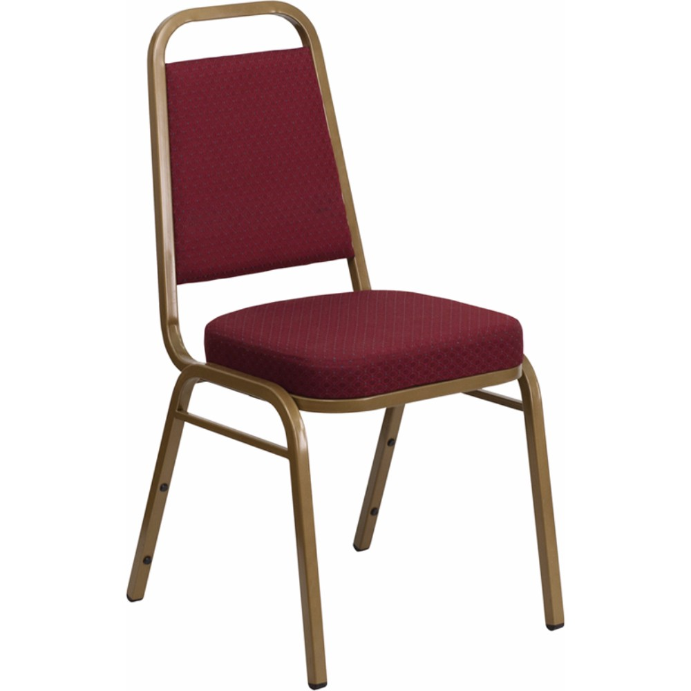 Offex HERCULES Series Trapezoidal Back Stacking Banquet Chair with Burgundy Patterned Fabric and 2.5' Thick Seat - Gold Frame [FD-BHF-1-ALLGOLD-0847-BY-GG]