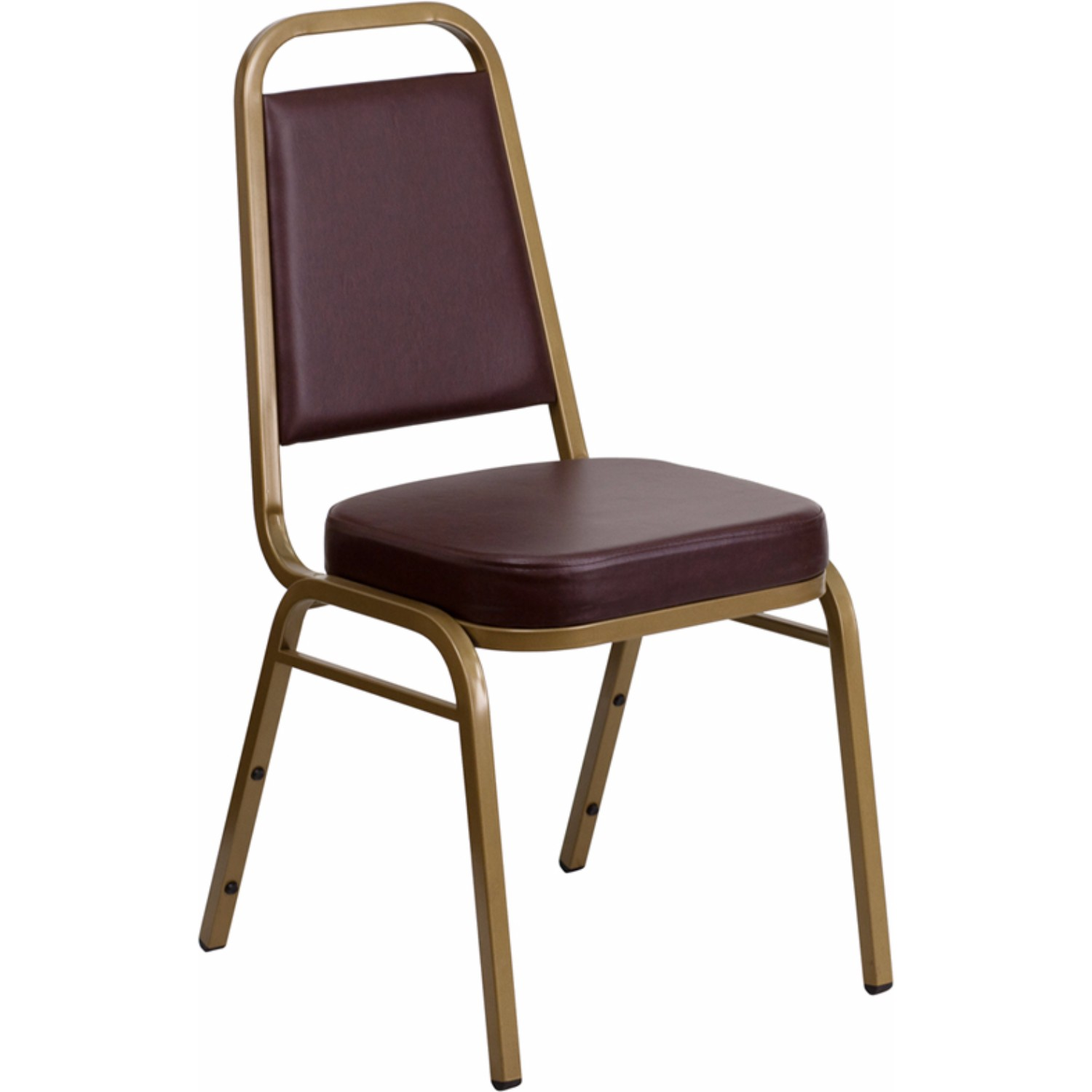 Offex HERCULES Series Trapezoidal Back Stacking Banquet Chair with Brown Vinyl and 2.5' Thick Seat - Gold Frame [FD-BHF-1-ALLGOLD-BN-GG]