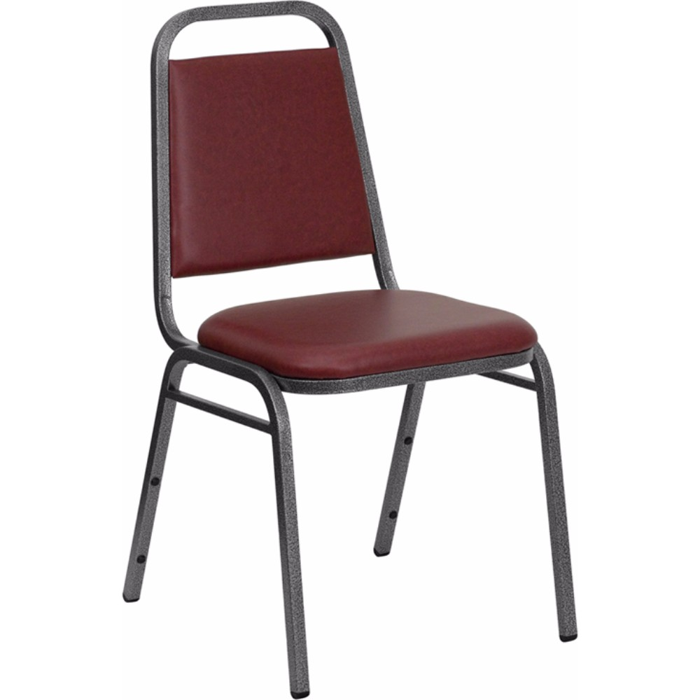 Offex HERCULES Series Trapezoidal Back Stacking Banquet Chair with Burgundy Vinyl and 1.5' Thick Seat - Silver Vein Frame [FD-BHF-2-BY-VYL-GG]
