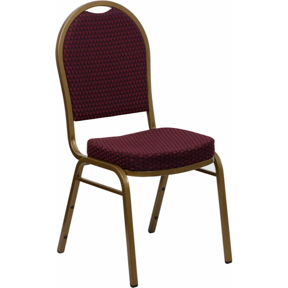 Offex HERCULES Series Dome Back Stacking Banquet Chair with Burgundy Patterned Fabric and 2.5' Thick Seat - Gold Frame [FD-C03-ALLGOLD-EFE1679-GG]