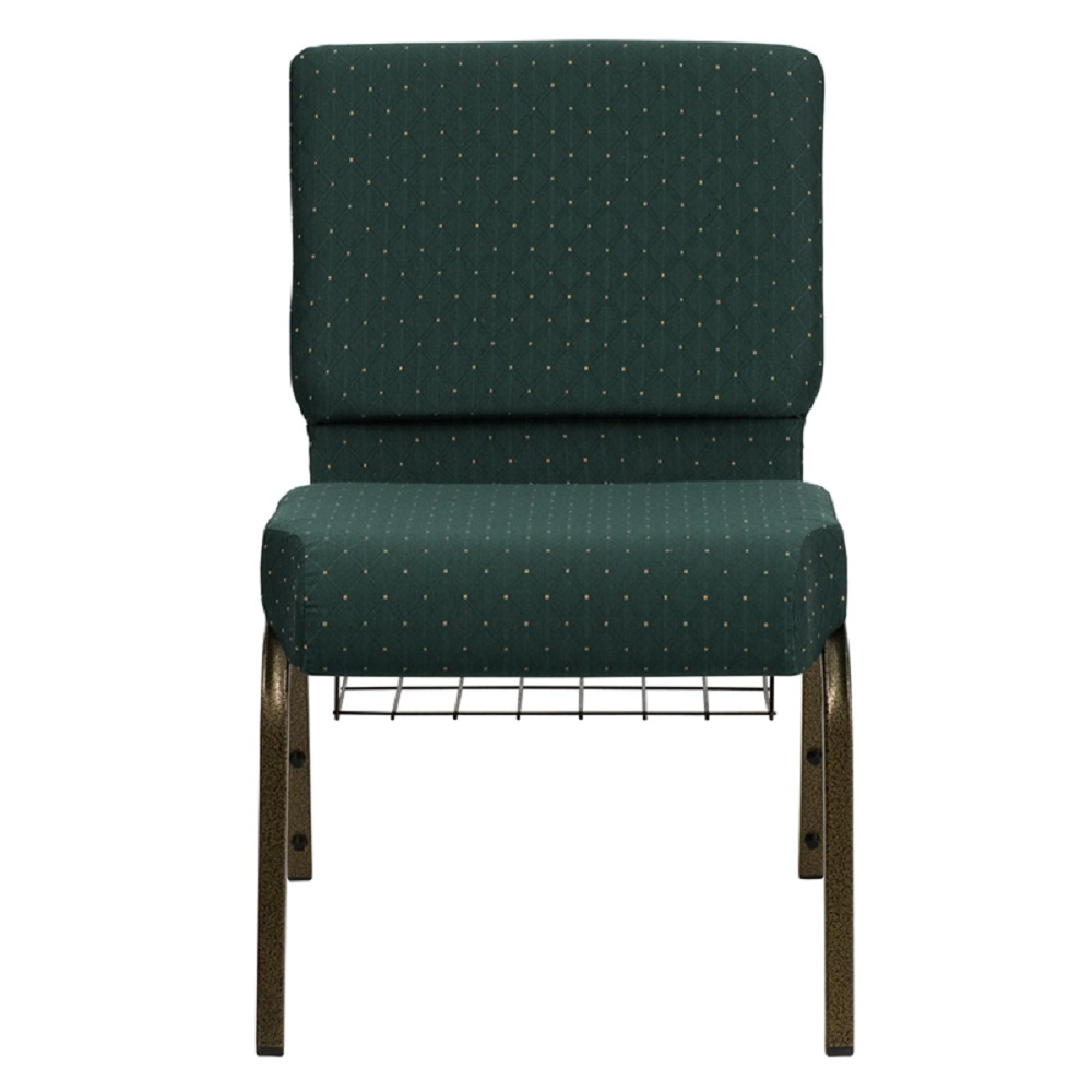 Offex HERCULES Series 21' Extra Wide Hunter Green Dot Patterned Fabric Church Chair with 4' Thick Seat, Communion Cup Book Rack - Gold Vein Frame [FD-CH0221-4-GV-S0808-BAS-GG]