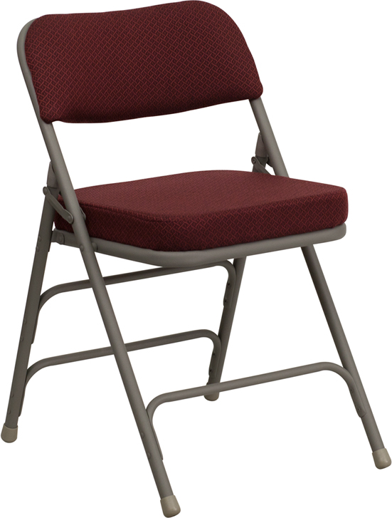 Flash Funiture HERCULES Series Premium Curved Triple Braced & Quad Hinged Burgundy Fabric Upholstered Metal Folding Chair at Sears.com