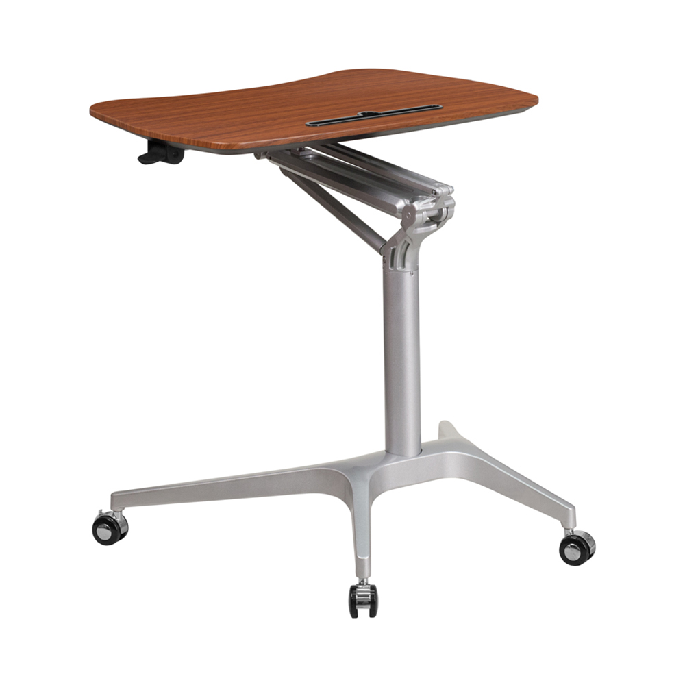Offex Contemporary 28.75'W Top Adjustable Range 29' - 41' Mobile Sit-Down Stand-Up Computer Desk - Mahogany