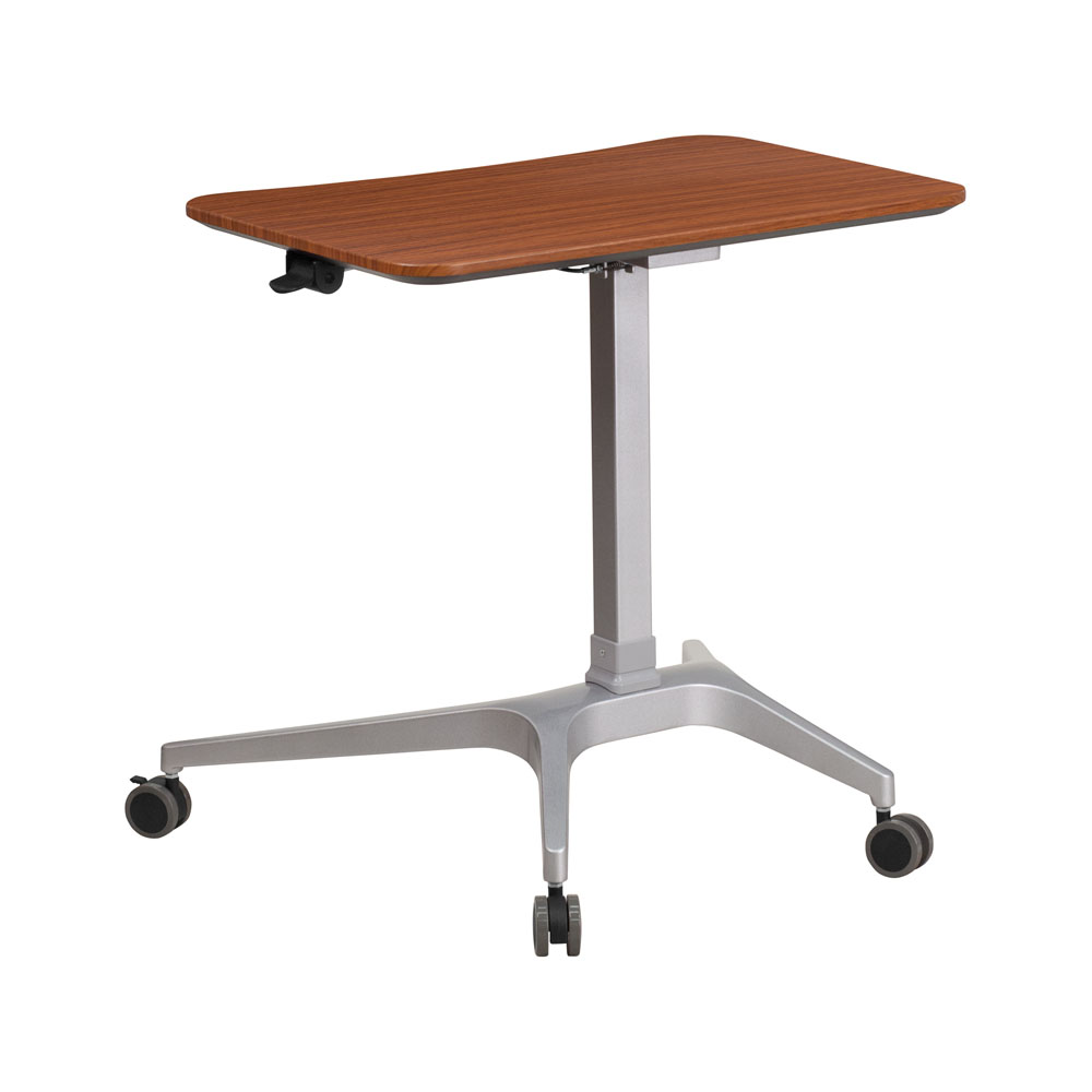 Offex Conteporary 28.25'W Top Adjustable Range 28' - 40.25' Mobile Sit-Down Stand-Up Computer Desk - Mahogany