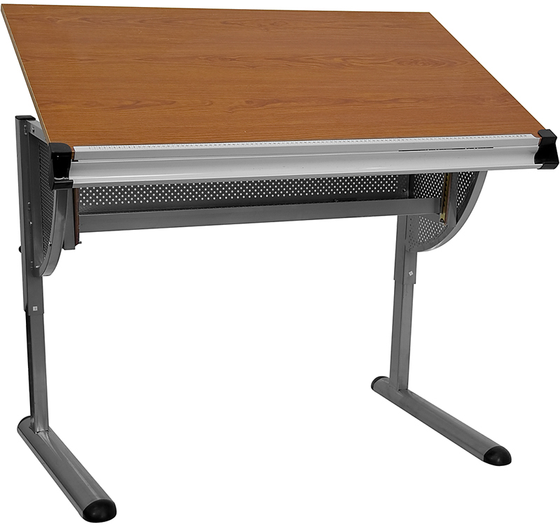 Offex Adjustable Drawing and Drafting Table with Pewter Frame