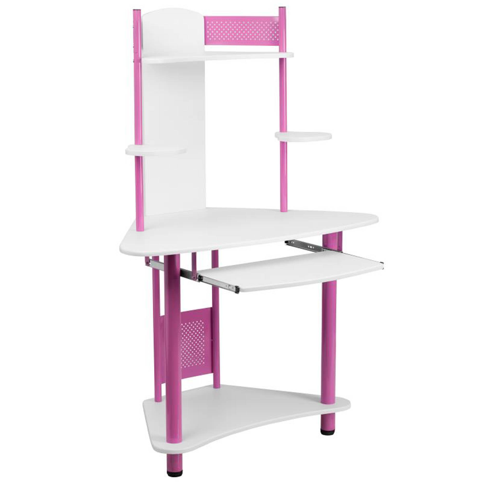Offex NAN-JN-2705-PK-GG Pink Corner Computer Desk with Hutch