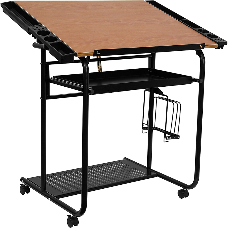 Offex NAN-JN-2739-GG Adjustable Drawing and Drafting Table with Black Frame and Dual Wheel Casters