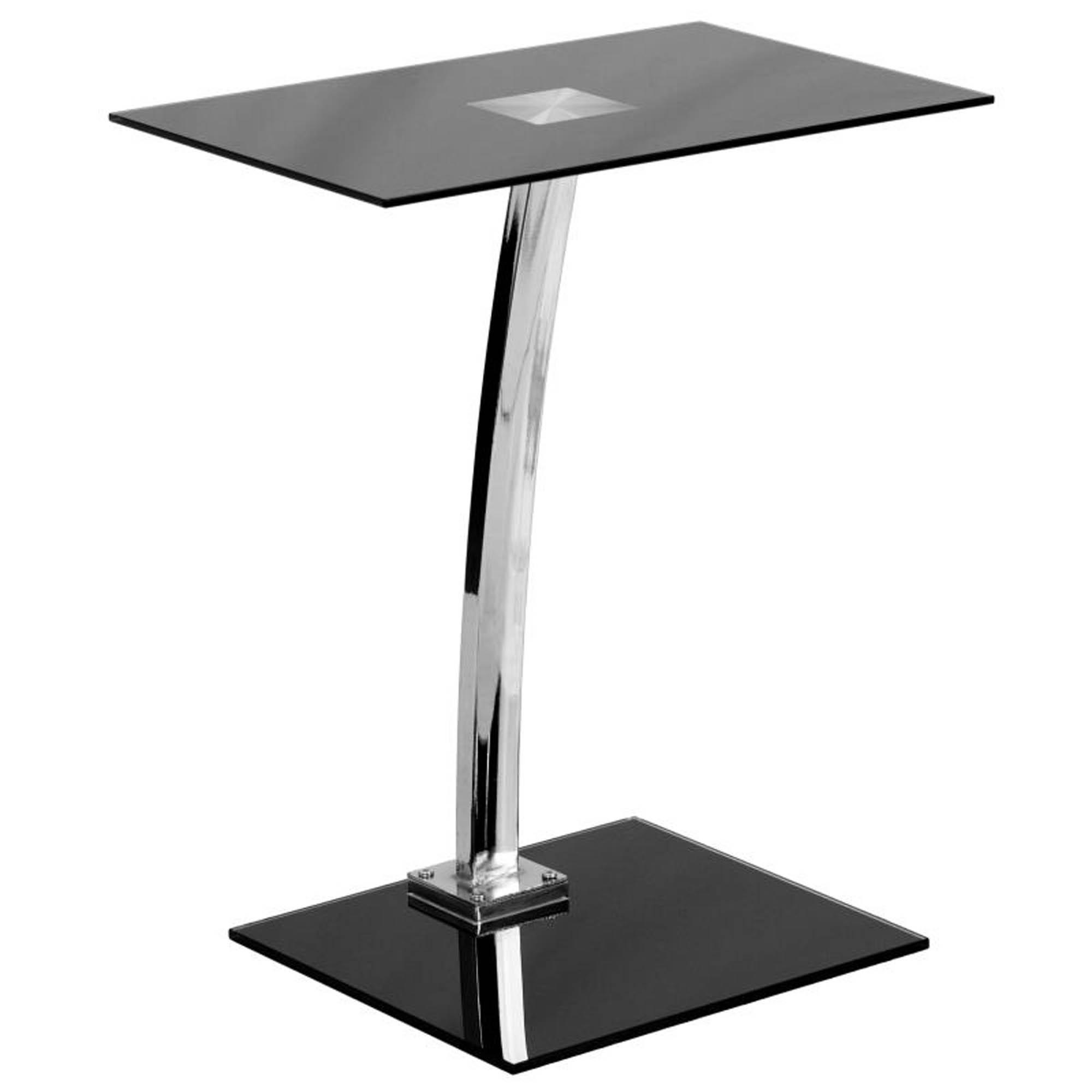 Offex NAN-LT-07-GG Laptop Computer Desk with Silk Black Tempered Glass Top