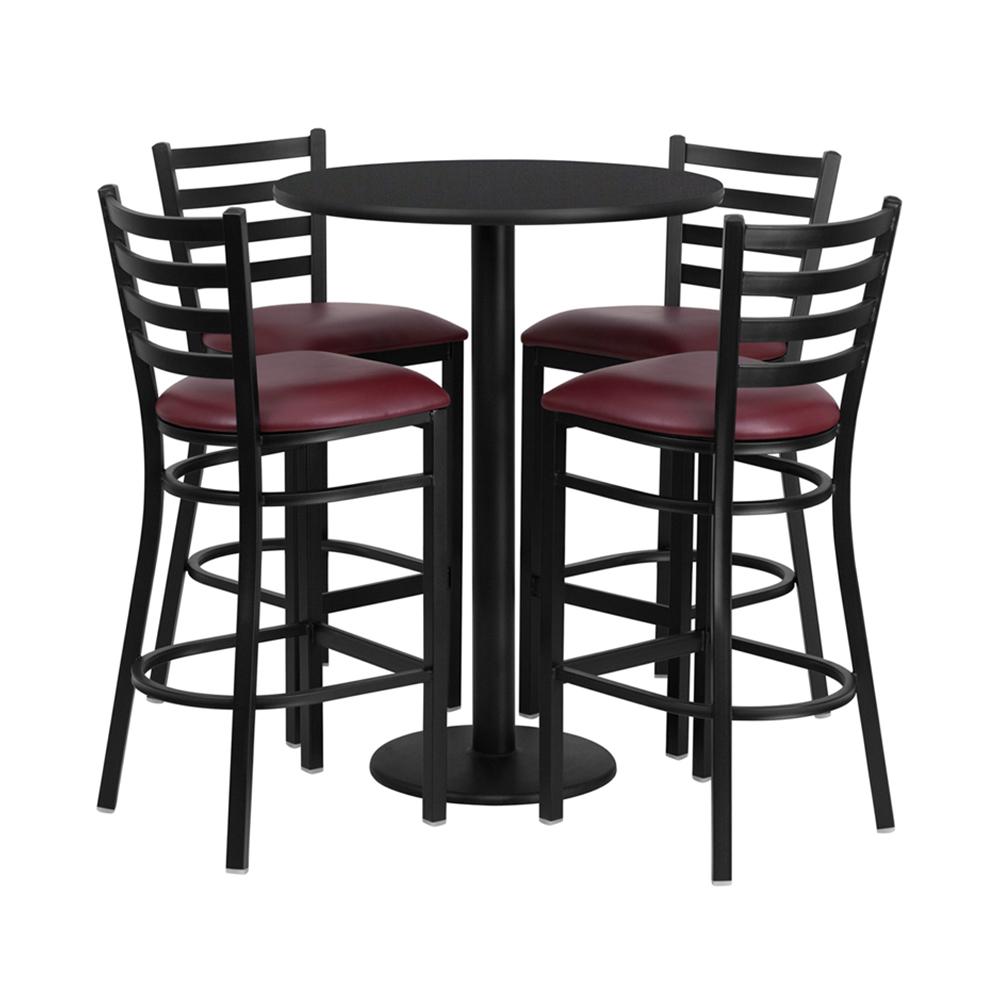Flash Furniture 30\'\' Round Black Laminate Table Set With 4 Ladder Back Metal Bar Stools - Burgundy Vinyl Seat