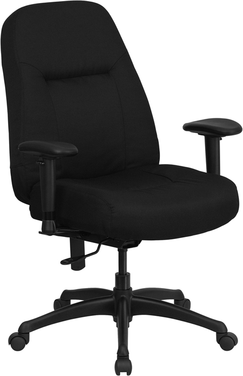 Flash Furniture HERCULES Series 400 lb. Capacity High Back Big & Tall Black Fabric Office Chair with Height Adjustable Arms and Extra ...
