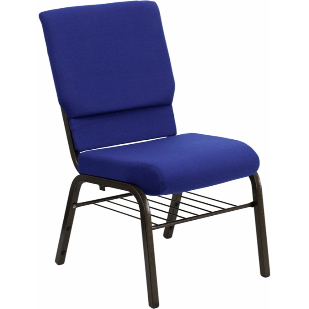 Offex HERCULES Series 18.5' Wide Navy Blue Fabric Church Chair with 4.25' Thick Seat, Book Rack - Gold Vein Frame [XU-CH-60096-NVY-BAS-GG]