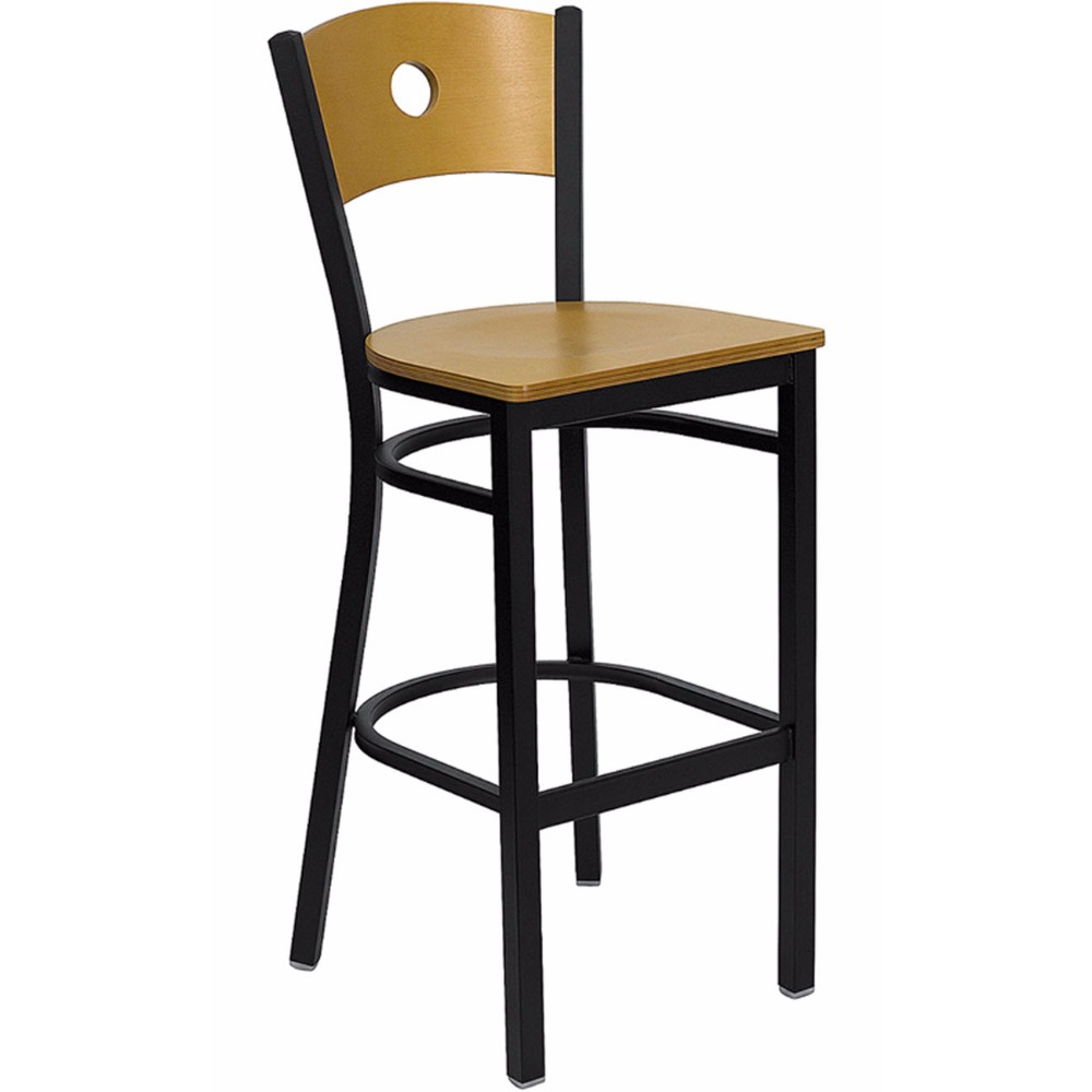 Offex HERCULES Series Black Circle Back Metal Restaurant Bar Stool - Natural Wood Back And Seat