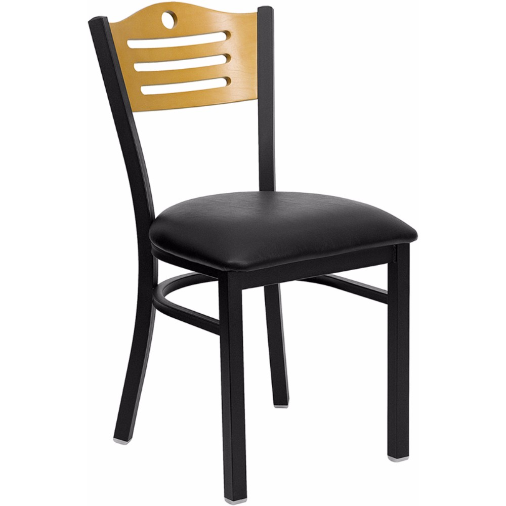 Offex HERCULES Series Black Slat Back Metal Restaurant Chair - Natural Wood Back, Black Vinyl Seat [XU-DG-6G7B-SLAT-BLKV-GG]