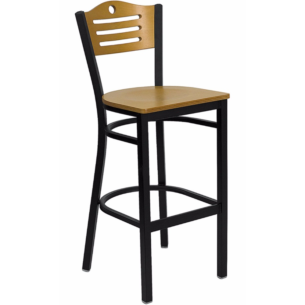 Offex HERCULES Series Black Slat Back Metal Restaurant Bar Stool - Natural Wood Back And Seat